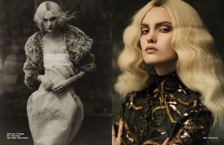 Jacket & top / J.Urquiaga Skirt / Thom Browne Cuffs & Rings / Vanessa Mooney Opposite Dress / Claes Iversen