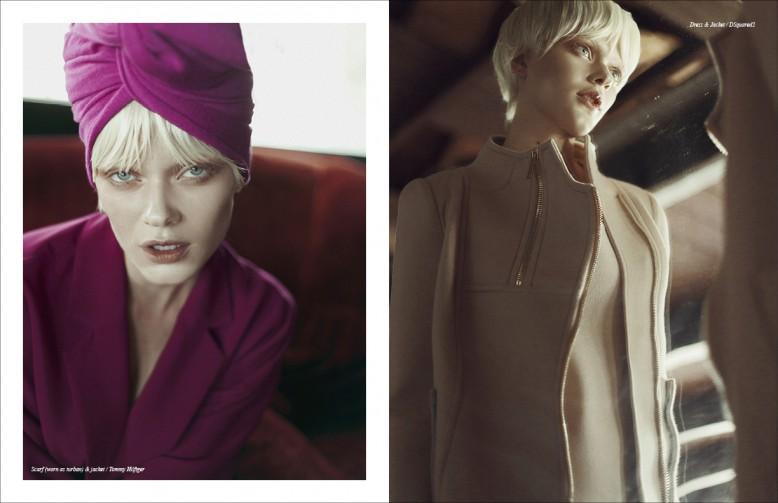 Scarf (worn as turban) & jacket / Tommy Hilfiger Opposite Dress & Jacket / DSquared2