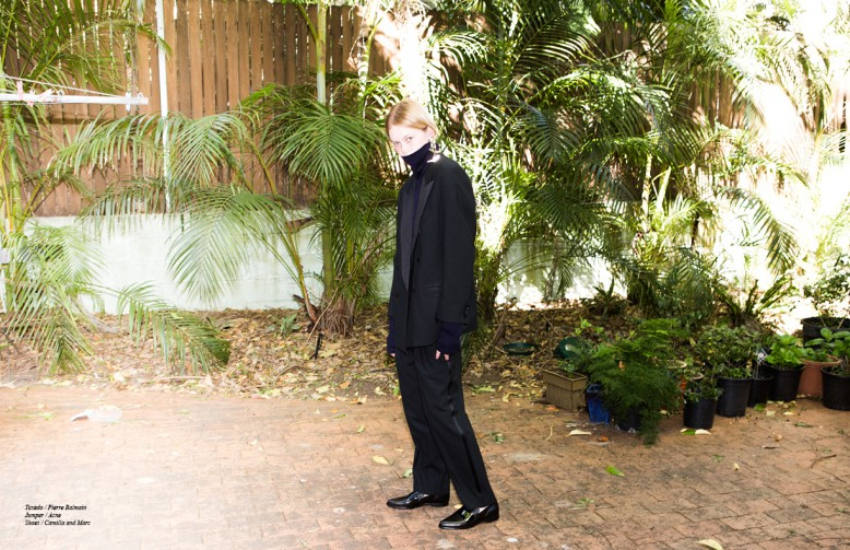 Tuxedo / Pierre Balmain Jumper / Acne Shoes / Camilla and Marc