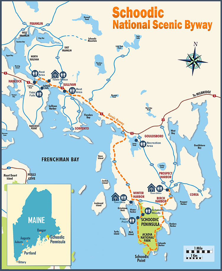 Schoodic Scenic Byway Map