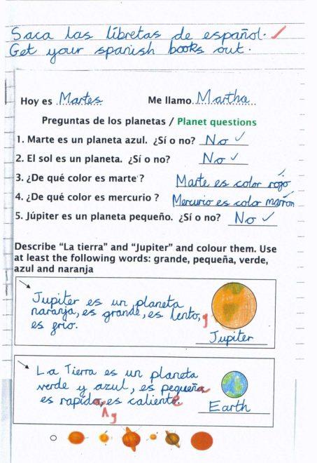 Year 5 Spanish -Como son los planetas