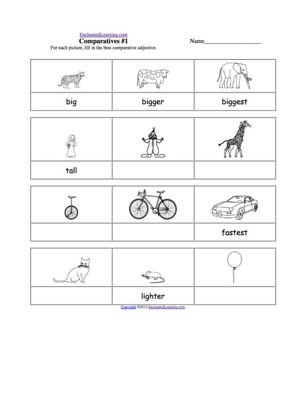 First Grade Worksheets Adjectives