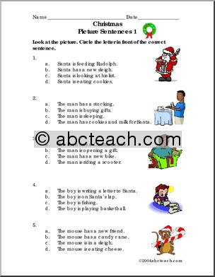 Christmas Language Worksheets #5