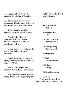 Civil Rights Worksheets #3