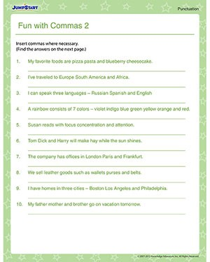 Commas For Clauses Worksheets #3