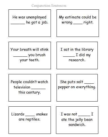 Conjunction Sentences Worksheets #5