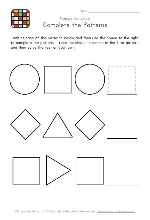 Easy Pattern Worksheets #1