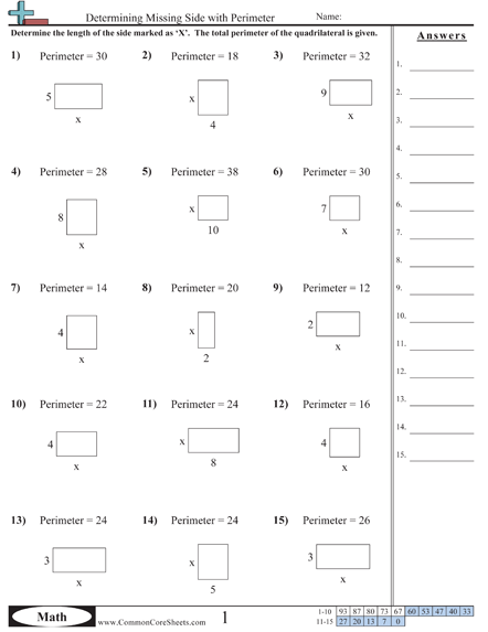 Find The Area Worksheets #1