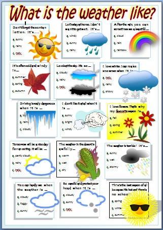 Esl Weather Worksheets #2