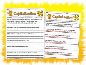 Free Printable Capitalization Worksheets #2