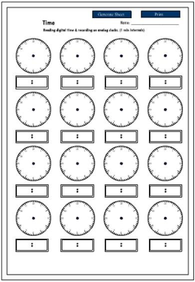 Free Printable Time Worksheets #1