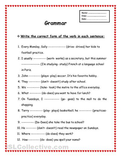 Grammar Printable Worksheets #3