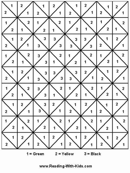 Hard Color By Number Worksheets #3