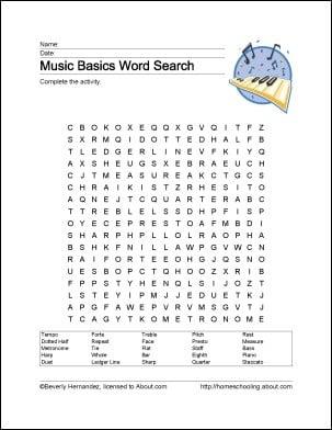 Music Printable Worksheets #4