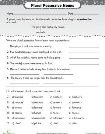 Plural Possessive Noun Worksheets #1