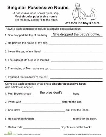 Possessive Noun Worksheets For 3rd Grade #1