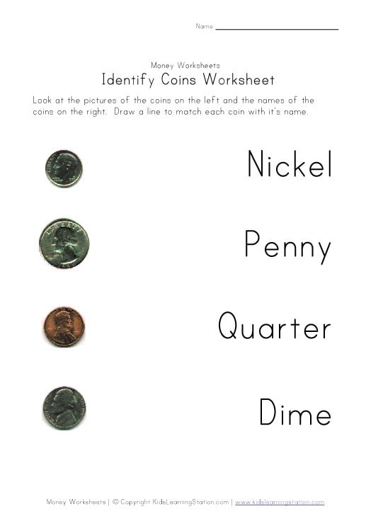 Printable Worksheets On Money #1