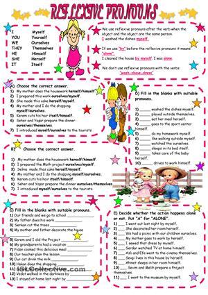 Reflexive Pronouns Worksheets #2