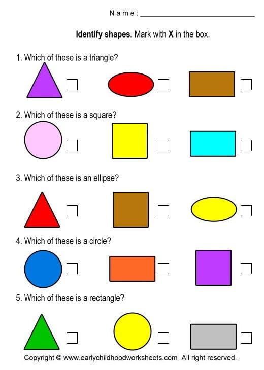 Shapes Math Worksheets #1