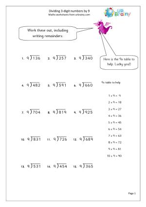 Short Division Worksheets #4