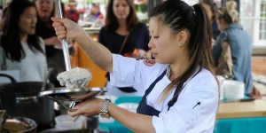 """PHOTO FROM GOLDDERBY Mei Lin plates a version of congee, her favorite dish to make, before starring on """"Top Chef: Boston."""" After winning the title and $125,000 prize, Lin is appearing at pop-up dinners across the country while deciding her next career move."""