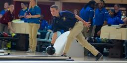 Freshman Josh Coffee slings the ball down the lane in the Ocelot's second place finish at MerriBowl Lanes on Feb. 13.