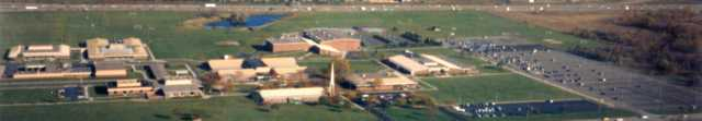 An aerial view of Schoolcraft campus in 1985 shows advancements on campus.