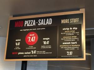 MOD Pizza gives one the option to create your own pizza or salad that can be accompanied by a beer or glass of wine one can also pair up their meal with an in-house made drink such as ice tea, lemonade or a milk shake