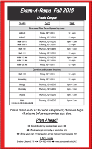 Take advantage of the LAC's free final exam tutoring. See the photo for the full review schedule.
