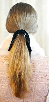 ponytail with velvet ribbon