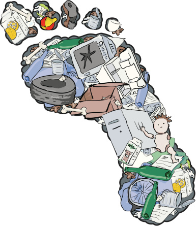 "An illustration of a ""carbon footprint"" with images of trash within the outline of the footprint"