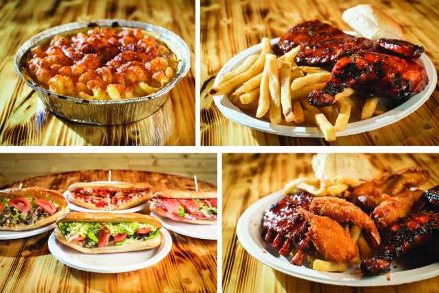 Pictures of mac&cheese, ribs & fries, subs, and a combination platter
