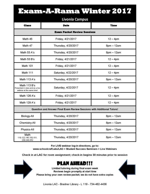 Winter 2017 Exam-A-Rama Schedule