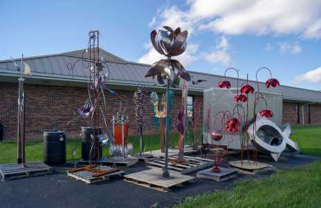 Six student-made metal sculptures will be displayed across campus