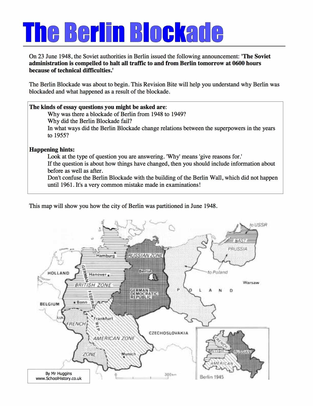 The Blockade Of Berlin Summary Worksheet
