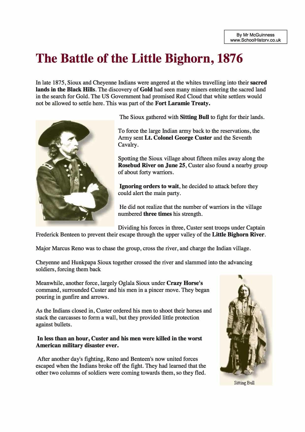 Little Bighorn Key Facts Amp Information