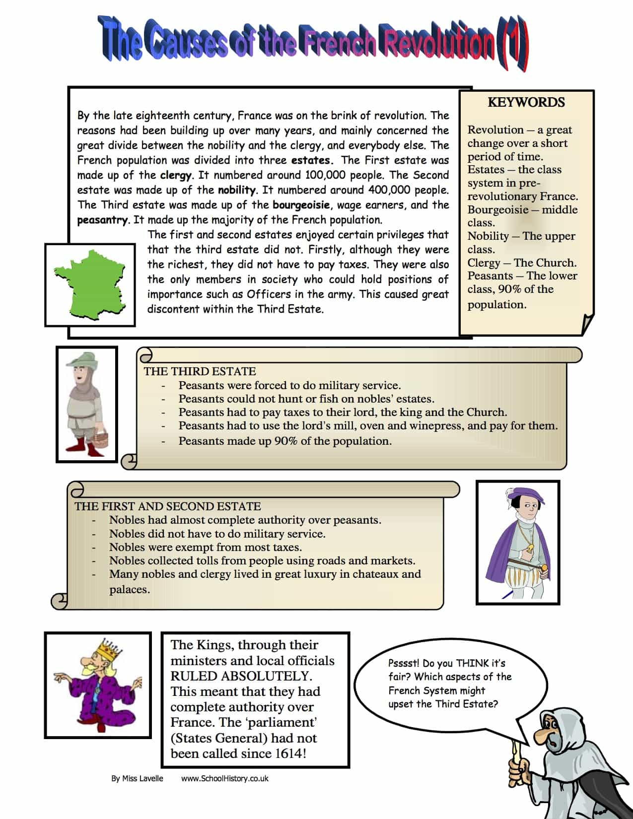 Causes Of The French Revolution Worksheet - Free PDF Download