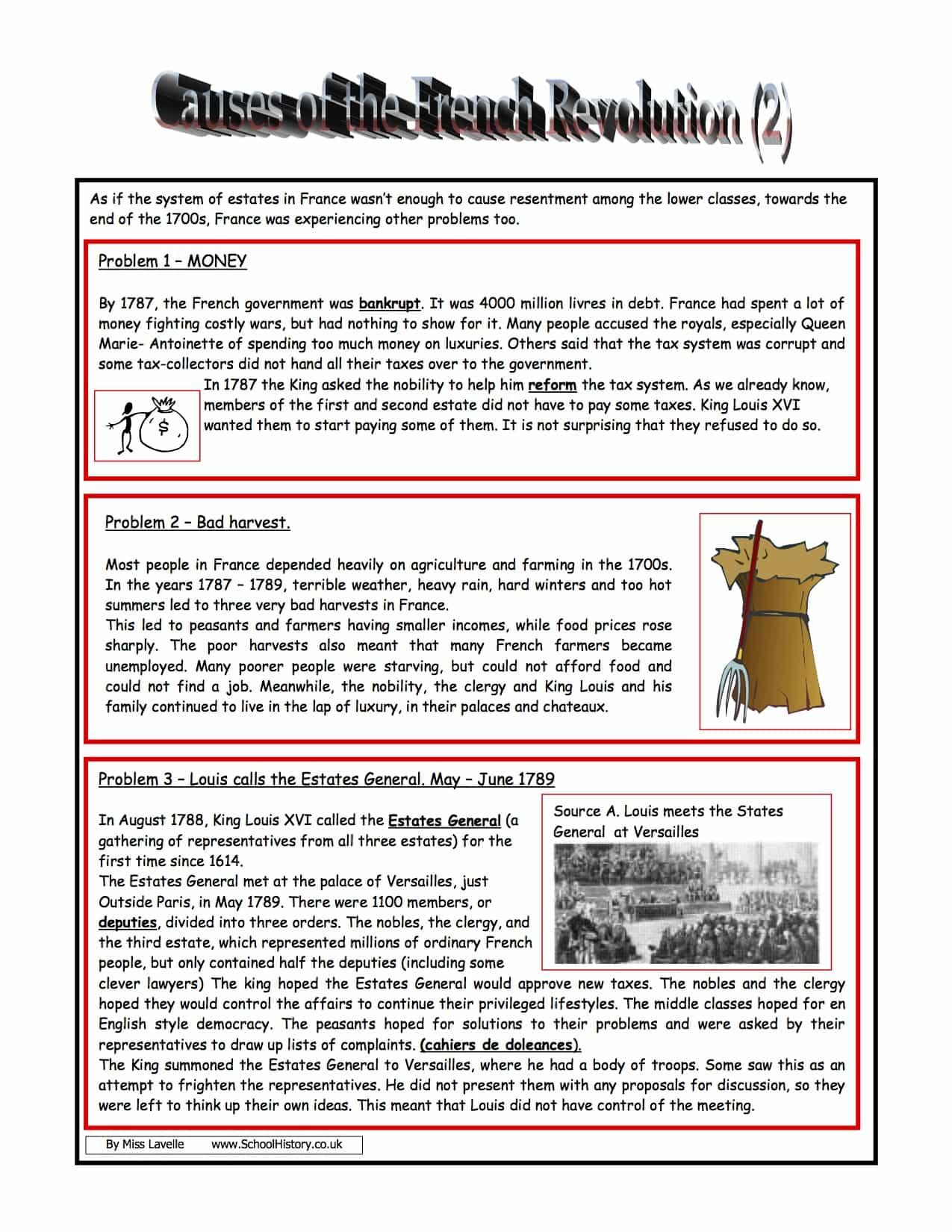 Causes Of The French Revolution Homework Lower Worksheet