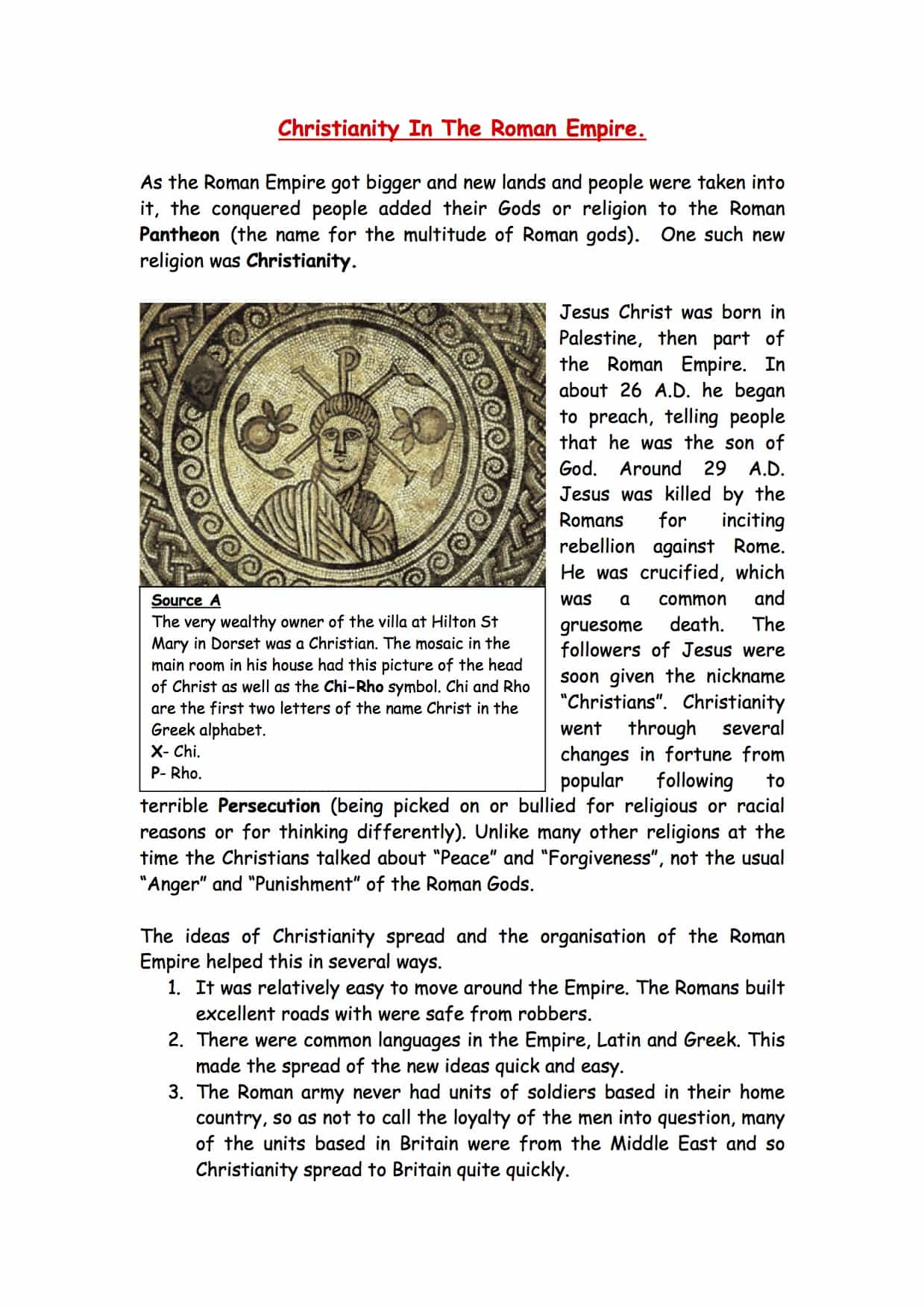Christianity In The Roman Empire Facts Amp Information Worksheet