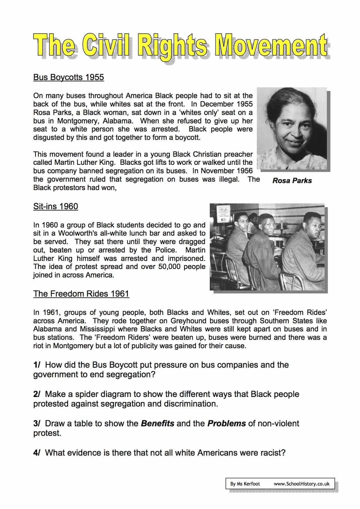 The Civil Rights Movement Worksheets