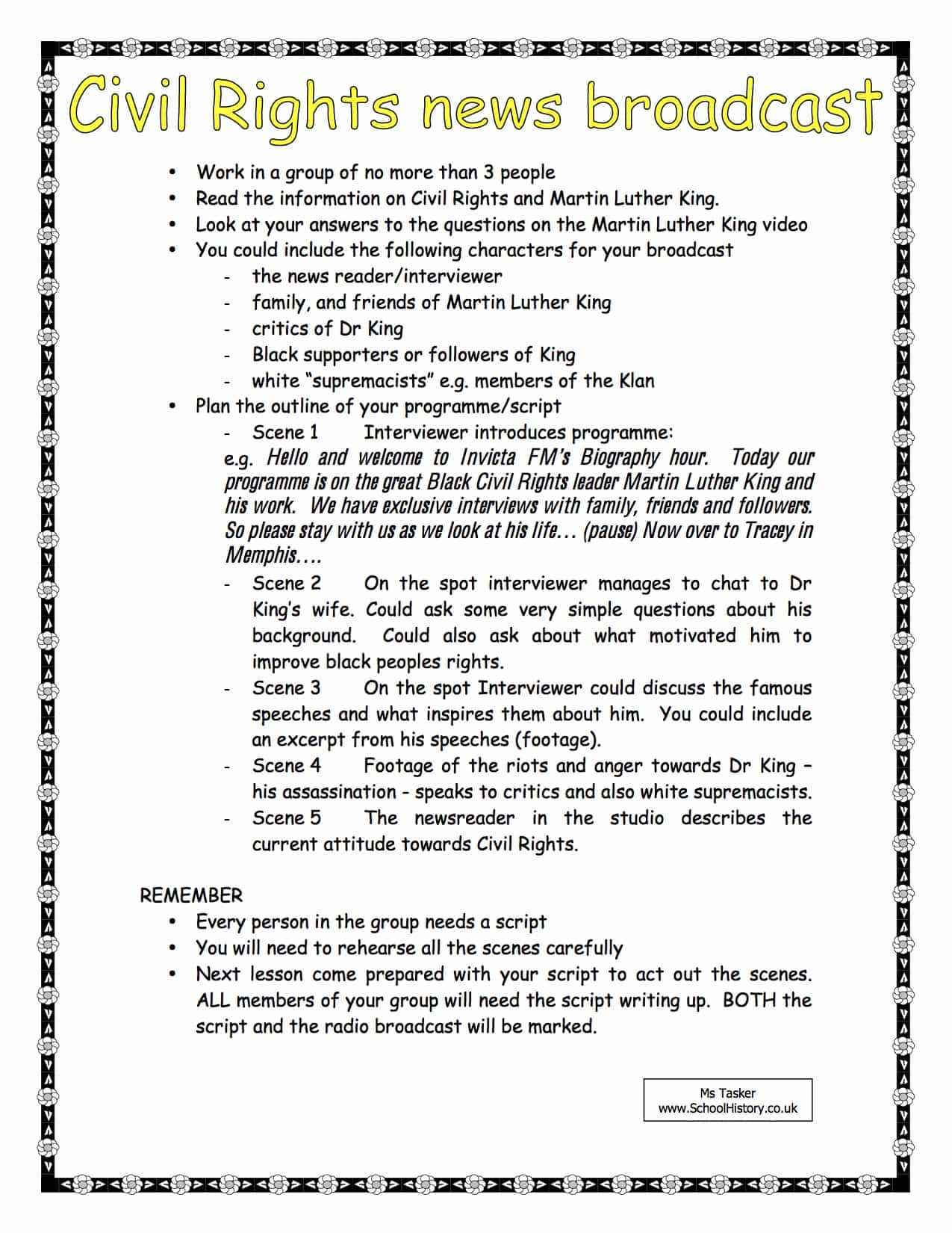 The Civil Rights News Broadcast Activity Worksheet