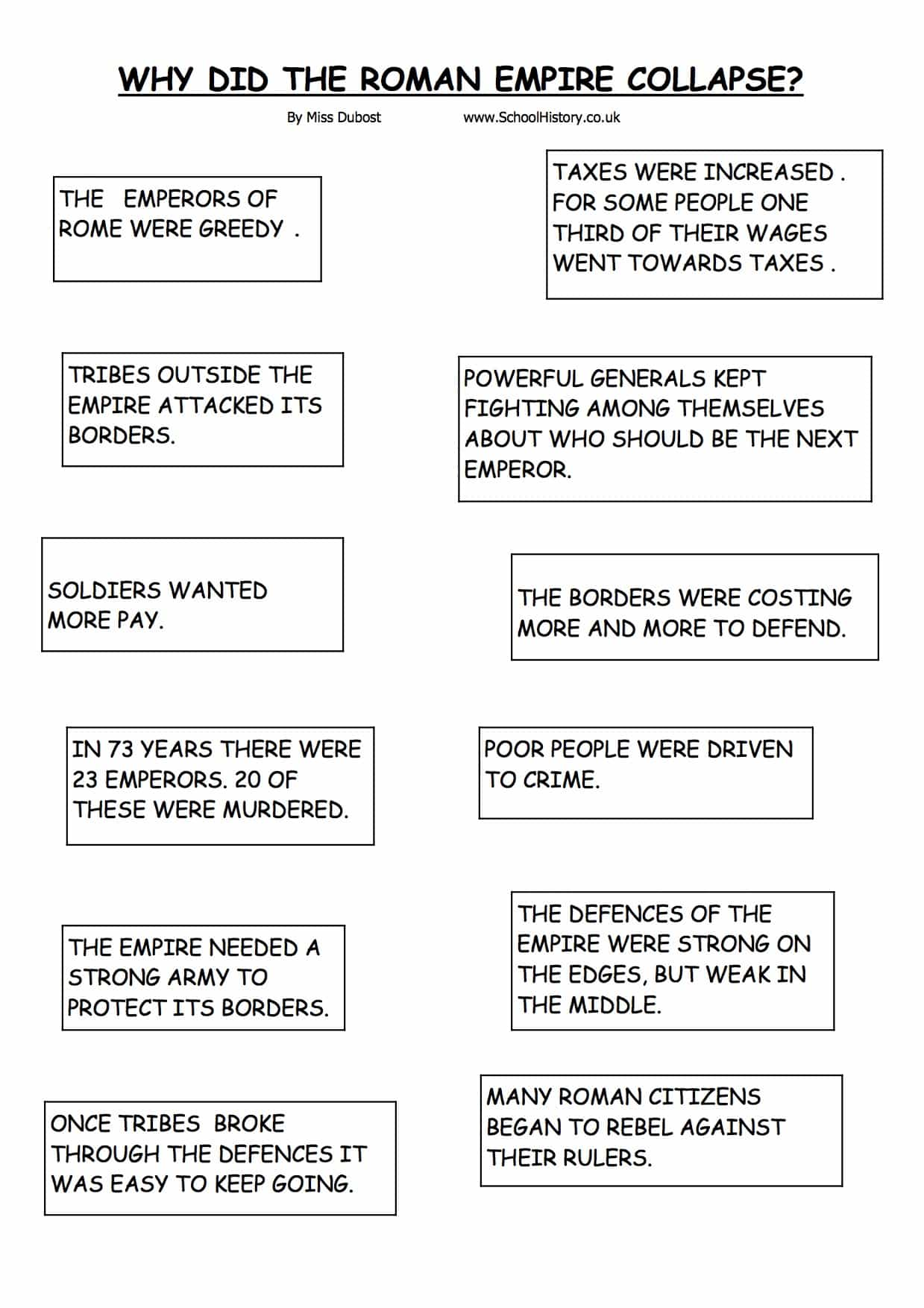 The Collapse Of The Roman Empire Worksheet