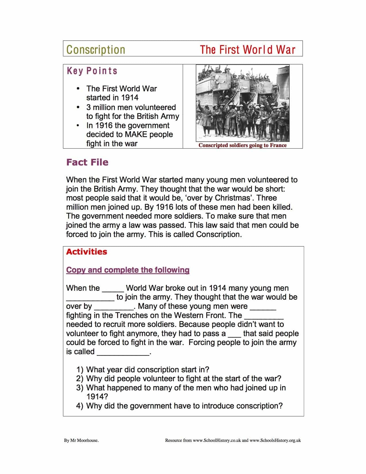 World War 1 Conscription Lower Facts