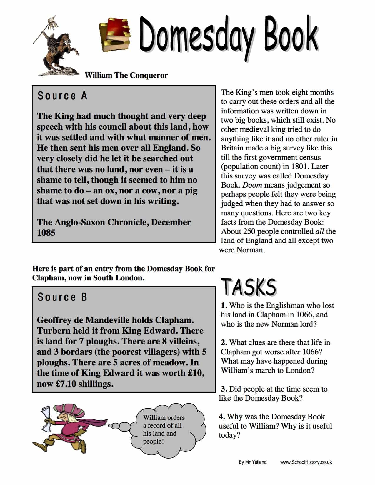 The Domesday Book Information Amp Facts Worksheet
