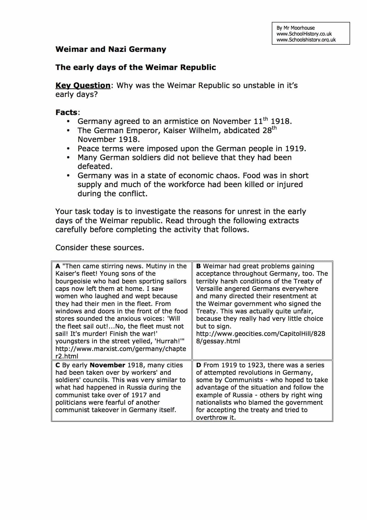 Early Days Of The Weimar Republic Worksheet