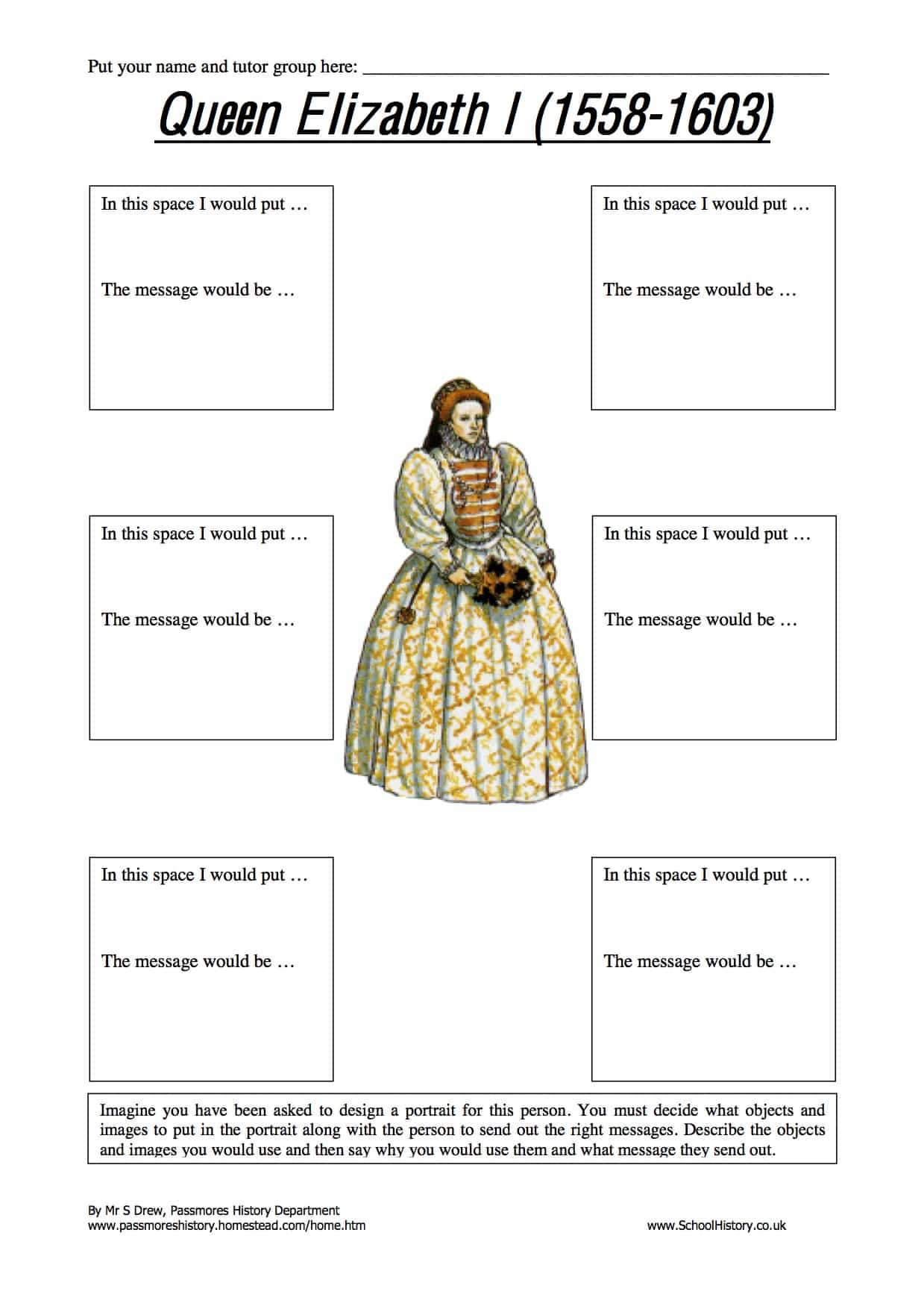 Queen Elizabeth I Portrait Activity