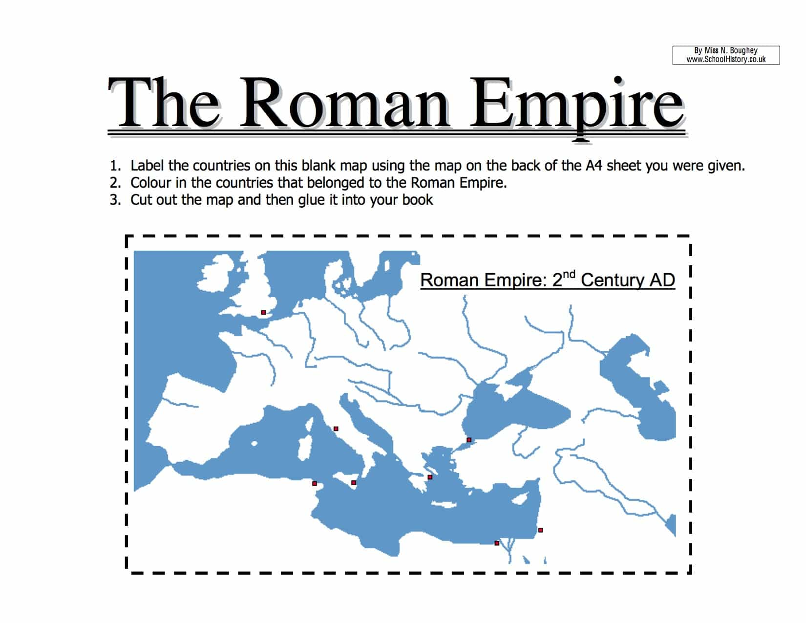 Map Of The Roman Empire Worksheet
