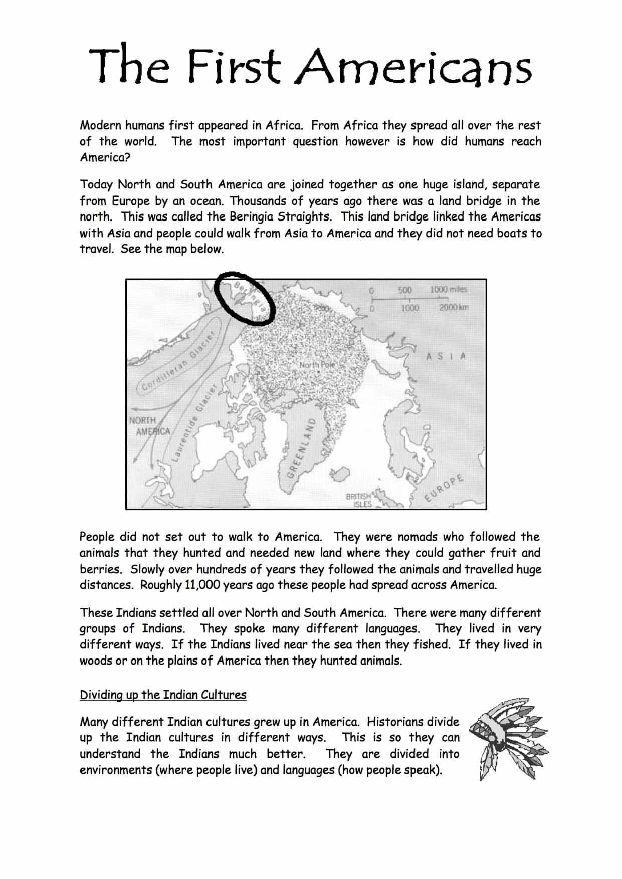 The First Americans (SEN) Worksheet - Free PDF Download