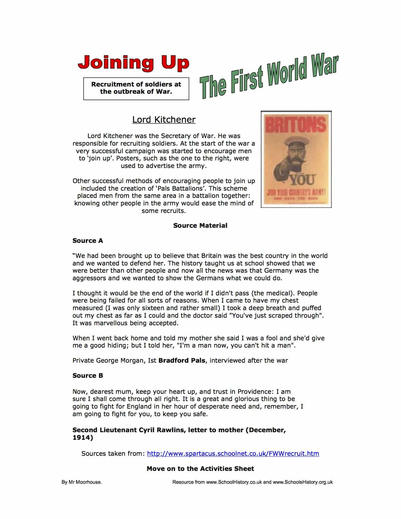 Lord Kitchener Joining The First World War Gcse Worksheet
