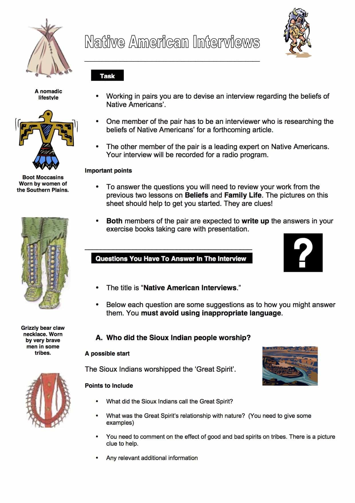 Native American Interviews Task Worksheet